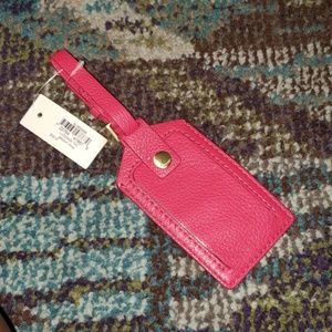 Fossil Genuine Leather Bright Pink Luggage Tag